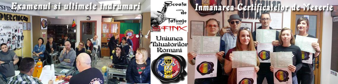 Scoala de tatuaje Sfinx Examen si Certificate